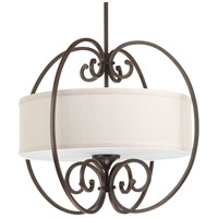 Overbrook 3 Light 22 inch Antique Bronze Pendant Ceiling Light, Natural Linen