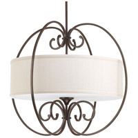 Overbrook 4 Light 28 inch Antique Bronze Pendant Ceiling Light, Natural Linen