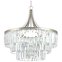 Progress P5346-134 Glimmer 6 Light 28 inch Silver Ridge Pendant Ceiling Light Design Series