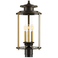 Squire 3 Light 23 inch Antique Bronze and Vintage Brass Outdoor Post Lantern