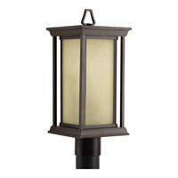 Progress Lighting Endicott 1 Light Post Lantern in Antique Bronze with Etched Umber Linen Glass P5400-20