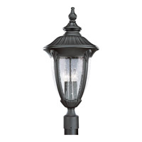 Meridian 3 Light 26 inch Textured Black Outdoor Post Lantern