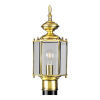 BrassGUARD 1 Light 17 inch Polished Brass Outdoor Post Lantern