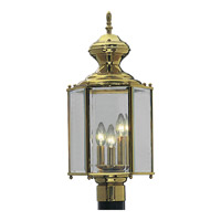 Progress P5432-10 Brassguard 3 Light 21 inch Polished Brass Outdoor Post Lantern