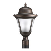 Westport 1 Light 19 inch Antique Bronze Outdoor Post Lantern in Etched Seeded, Fluorescent