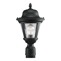 Westport 1 Light 16 inch Textured Black Outdoor Post Lantern in Clear Seeded