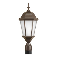 Welbourne 1 Light 21 inch Antique Bronze Outdoor Post Lantern in Etched, Fluorescent