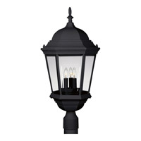 Welbourne 3 Light 26 inch Textured Black Outdoor Post Lantern in Clear Beveled