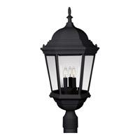 Progress P5483-31 Welbourne 3 Light 26 inch Textured Black Outdoor Post Lantern in Clear Beveled