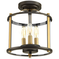 Squire 3 Light 10 inch Antique Bronze and Vintage Brass Outdoor Semi Flush Mount, Convertible