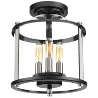 Squire 3 Light 10 inch Black and Stainless Steel Outdoor Semi Flush Mount, Convertible