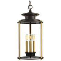 Squire 3 Light 10 inch Antique Bronze and Vintage Brass Outdoor Hanging Lantern