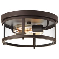 Gunther 2 Light 13 inch Antique Bronze Outdoor Flush Mount