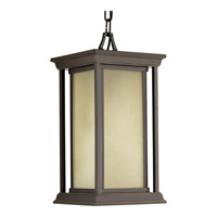 Progress Lighting Endicott 1 Light Outdoor Hanging Lantern in Antique Bronze with Etched Umber Linen Glass P5500-20