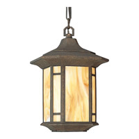 Arts and Crafts 1 Light 10 inch Weathered Bronze Outdoor Hanging Lantern