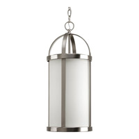 Progress Lighting Greetings 1 Light Outdoor Hanging Lantern in Brushed Nickel P5549-09