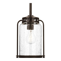 Progress Lighting Botta 1 Light Outdoor Hanging Lantern in Antique Bronze with Clear Seeded Glass P5560-20