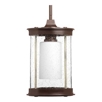 Progress Lighting Archives 1 Light Outdoor Hanging Lantern in Antique Bronze with Clear Seeded Glass P5564-20