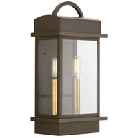 Progress P560002-020 Santee 2 Light 15 inch Antique Bronze Outdoor Wall Lantern Small Design Series