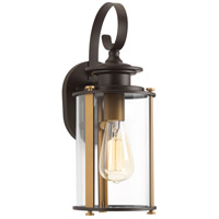 Squire 1 Light 15 inch Antique Bronze and Vintage Brass Outdoor Wall Lantern, Small