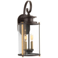 Squire 2 Light 19 inch Antique Bronze and Vintage Brass Outdoor Wall Lantern, Medium