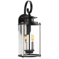 Squire 2 Light 19 inch Black and Stainless Steel Outdoor Wall Lantern, Medium