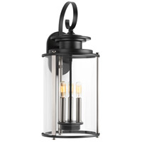 Squire 3 Light 23 inch Black and Stainless Steel Outdoor Wall Lantern, Large