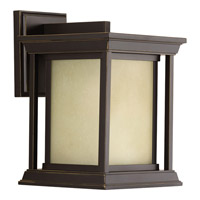 Progress Lighting Endicott 1 Light Outdoor Wall Lantern in Antique Bronze with Etched Umber Linen Glass P5605-20