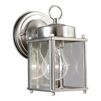 Progress Lighting Flat Glass Lantern 1 Light Outdoor Wall in Brushed Nickel P5607-09
