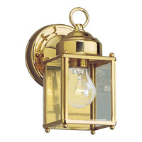 Flat Glass Lantern 1 Light 8 inch Polished Brass Outdoor Wall Lantern
