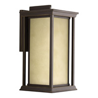 Progress Lighting Endicott 1 Light Outdoor Wall Lantern in Antique Bronze with Etched Umber Linen Glass P5613-20