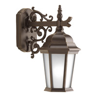 Welbourne 1 Light 13 inch Antique Bronze Outdoor Wall Lantern in Etched, Fluorescent
