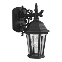 Welbourne 1 Light 13 inch Textured Black Outdoor Wall Lantern in Clear Beveled, Standard