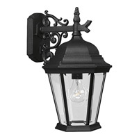 Welbourne 1 Light 18 inch Textured Black Outdoor Wall Lantern in Clear Beveled, Standard