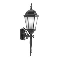 Welbourne 1 Light 31 inch Black Outdoor Wall Lantern in Etched, Fluorescent