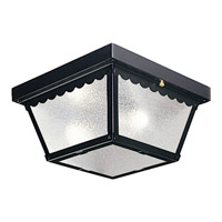 Signature 2 Light 9 inch Black Outdoor Ceiling Lantern in White Glass
