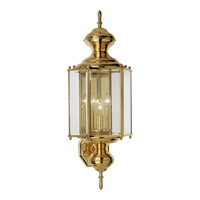 BrassGUARD 3 Light 26 inch Polished Brass Outdoor Wall Lantern