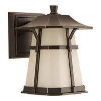 Derby LED 8 inch Antique Bronze Outdoor Wall Lantern in Etched Seedy Umber Watermark Glass