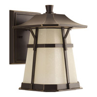 Derby LED 11 inch Antique Bronze Outdoor Wall Lantern in Etched Seedy Umber Watermark Glass