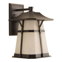 Derby LED 16 inch Antique Bronze Outdoor Wall Lantern in Etched Seedy Umber Watermark Glass