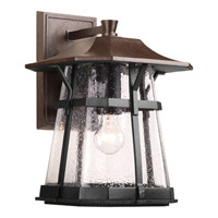 Progress P5751-84 Derby 1 Light 15 inch Espresso Outdoor Wall Lantern in Clear Seeded