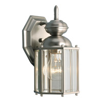 BrassGUARD 1 Light 10 inch Brushed Nickel Outdoor Wall Lantern