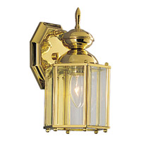 BrassGUARD 1 Light 10 inch Polished Brass Outdoor Wall Lantern
