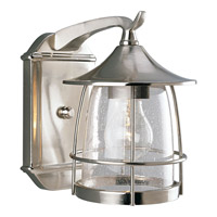 Progress P5763-09 Prairie 1 Light 9 inch Brushed Nickel Outdoor Wall Lantern