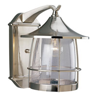 Progress P5764-09 Prairie 1 Light 14 inch Brushed Nickel Outdoor Wall Lantern
