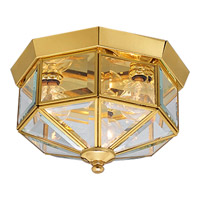 Beveled Glass 3 Light 10 inch Polished Brass Outdoor Ceiling Lantern