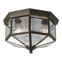 Beveled Glass 3 Light 10 inch Antique Bronze Close-to-Ceiling Ceiling Light