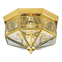 Beveled Glass 4 Light 11 inch Polished Brass Outdoor Ceiling Lantern