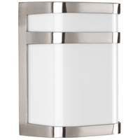 Valera LED 8 inch Brushed Nickel Outdoor Wall Lantern, Matte White Acrylic
