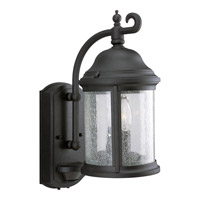 Motion Sensor 2 Light 15 inch Textured Black Outdoor Wall Lantern